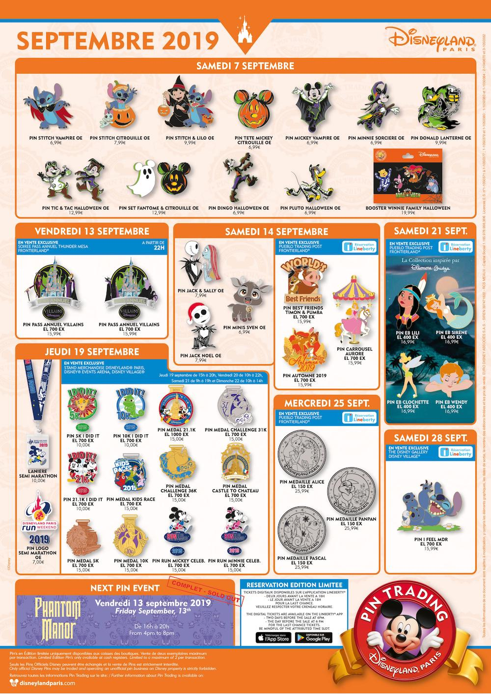 Affiche pin trading septembre 2019