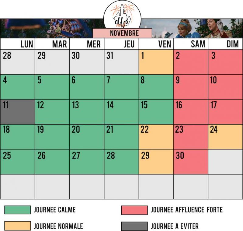 Calendrier affluence fréquentation Novembre 2019 Disneyland Paris