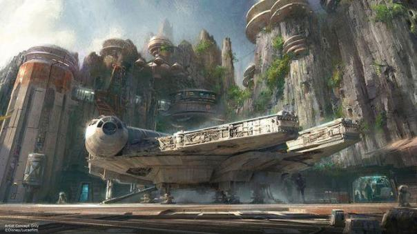 Faucon millenium concept art de star wars land
