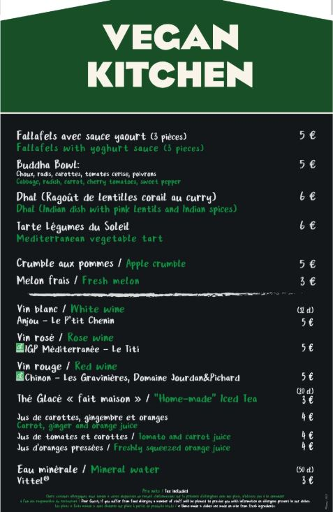 Menu vegan