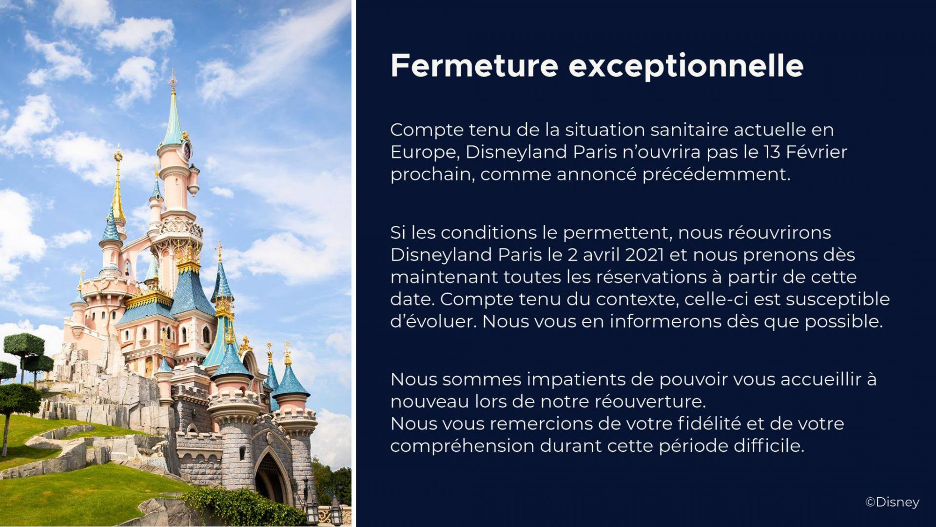 Fermeture disneyland paris