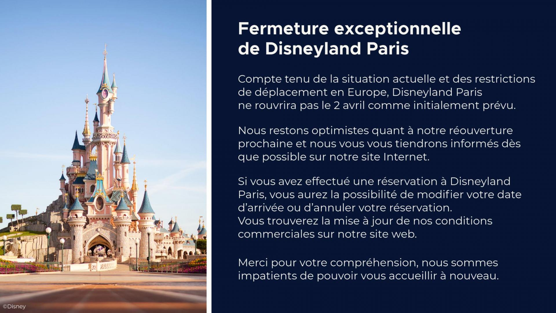 Fermeture parc Disneyland paris 2021