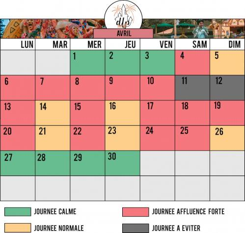 Calendrier affluence disneyland paris avril 2020