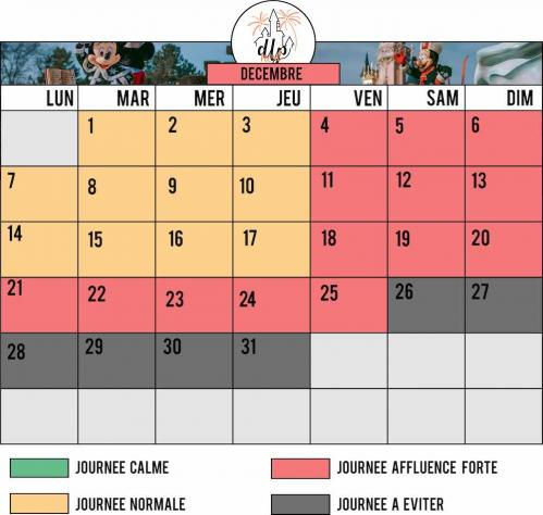 Calendrier affluence disneyland paris decembre 2020
