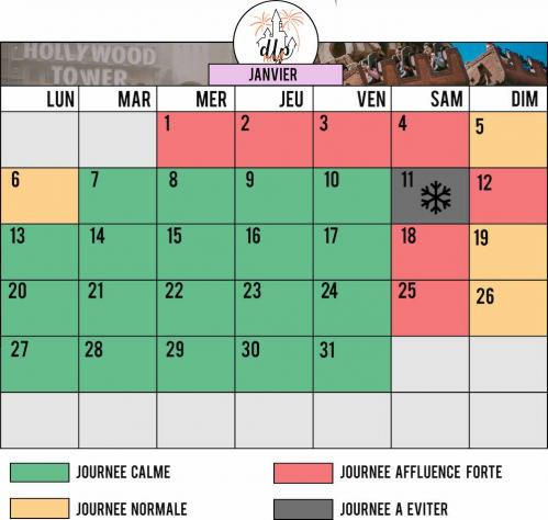 Calendrier affluence disneyland paris janvier 2020