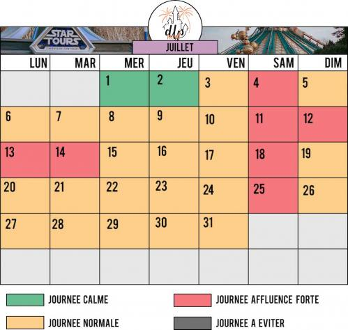 Calendrier affluence disneyland paris juillet 2020
