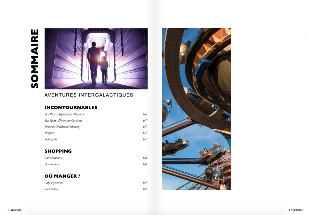 sommaire guide Disneyland Galactique