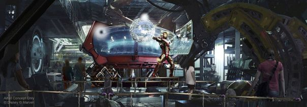 Concept art sur attraction avengers et de iron man