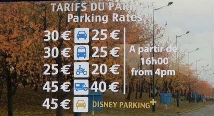 Tarif Parking Disneyland Paris