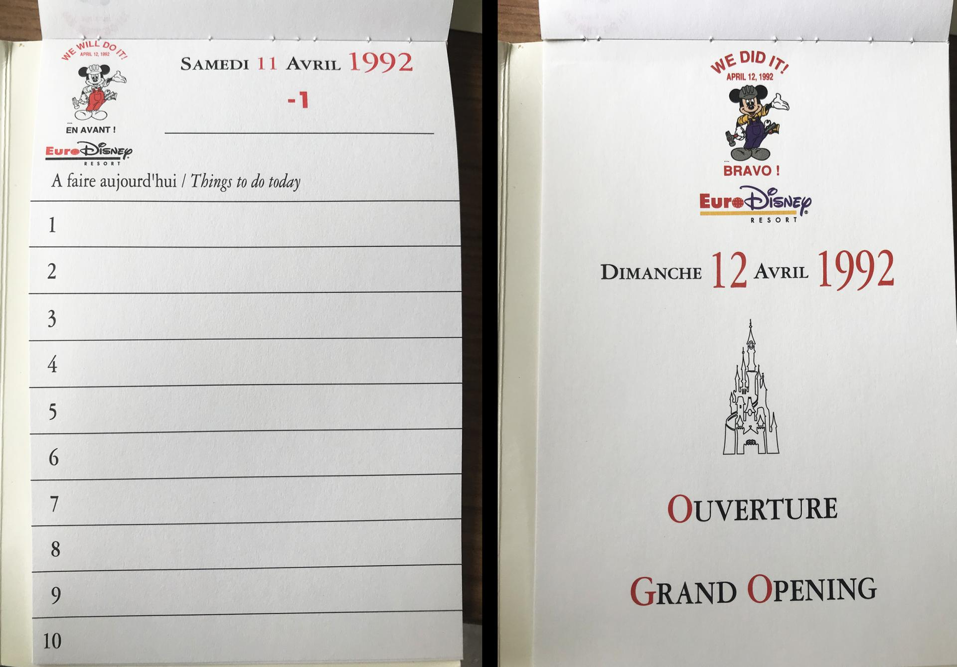 Grand Opening du 12 avril 1992 Disneyland Paris