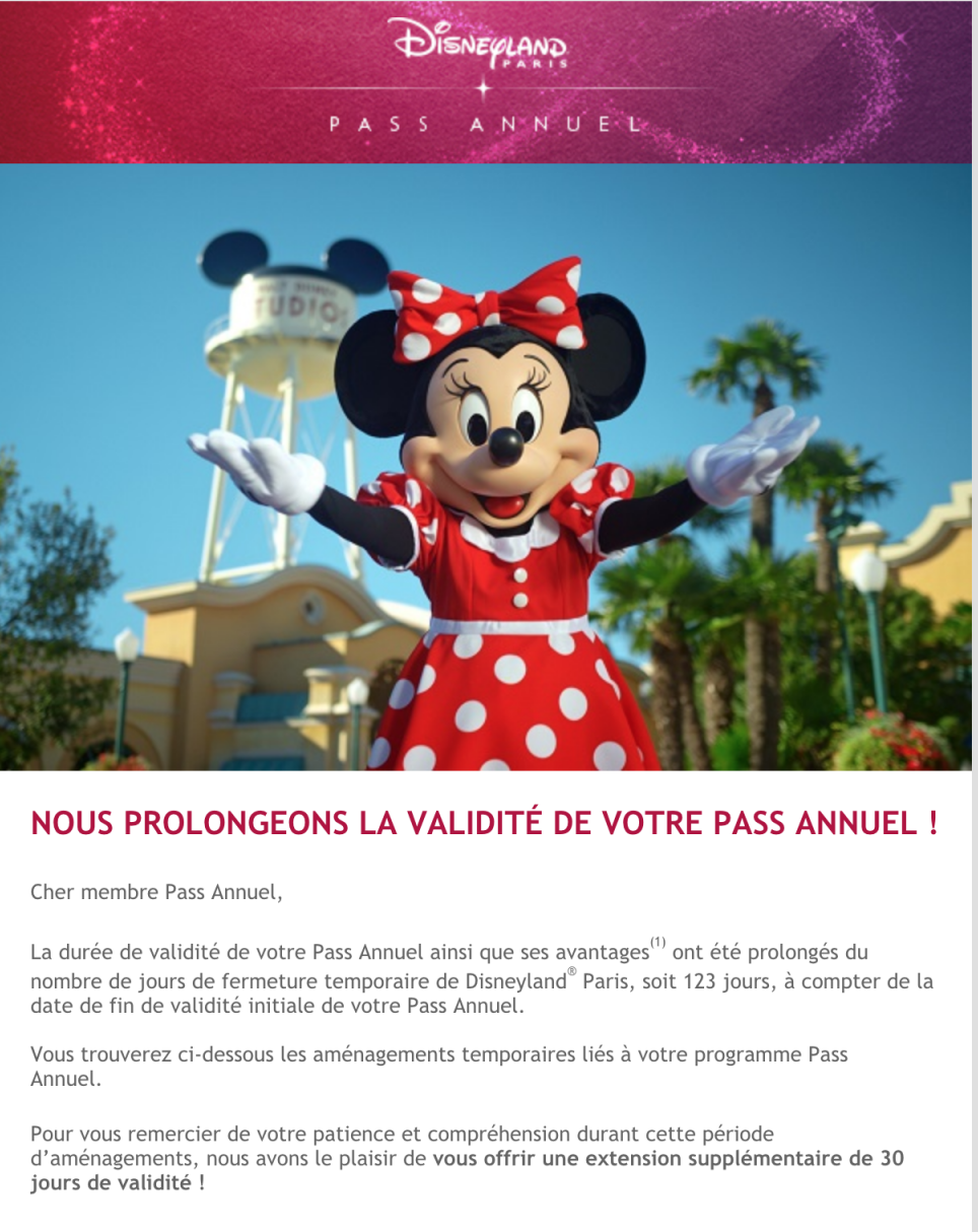 Prologation pass annuels disneyland paris reouverture 2020
