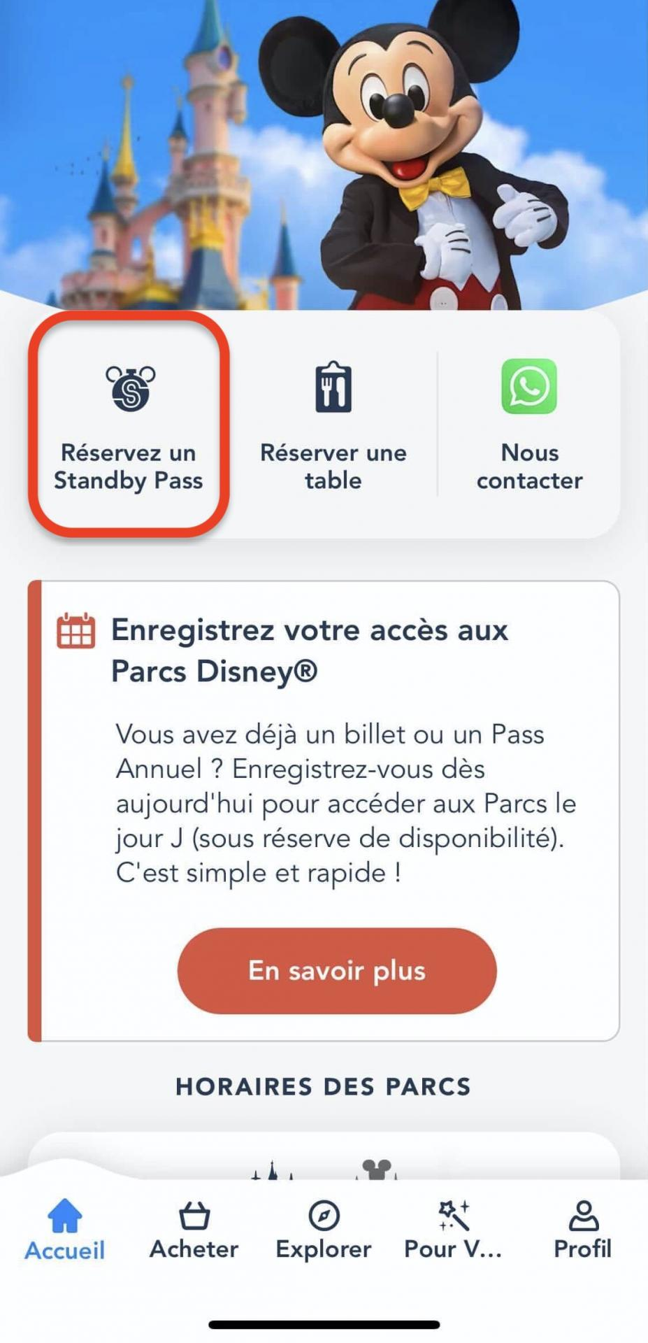 Standby pass Disneyland Paris réserver une attraction