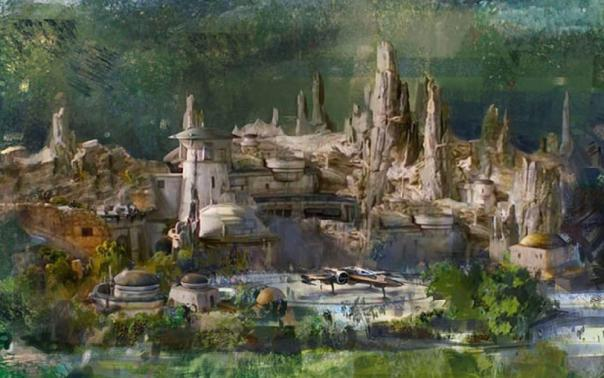 Zoom sur le concept art de star wars land